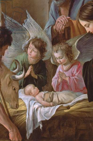 The Adoration of the Shepherds, c.1638 (oil on canvas) (detail of 99414)