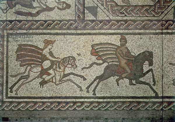 Mosaic pavement from the Roman villa at Low Ham, illustrating the story of Dido and Aeneas from Virgil's Aeneid, c.350 AD (mosaic) (detail of 5959)