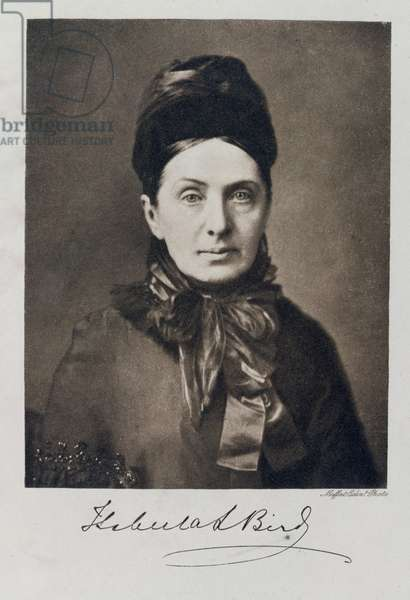 Portrait of Isabella Bird Bishop, traveller and writer (b/w photo)