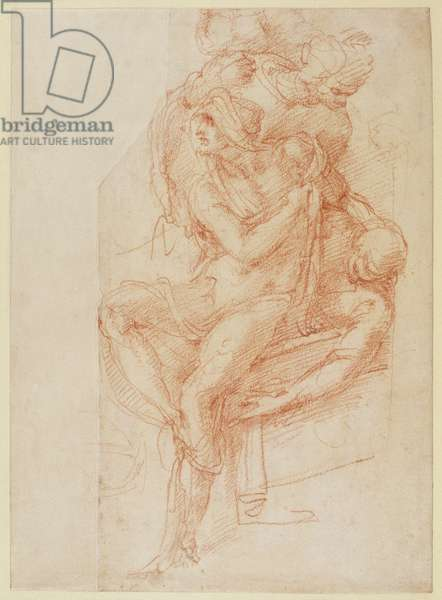 Study of Lazarus and two Attendant Figure (red chalk on paper)