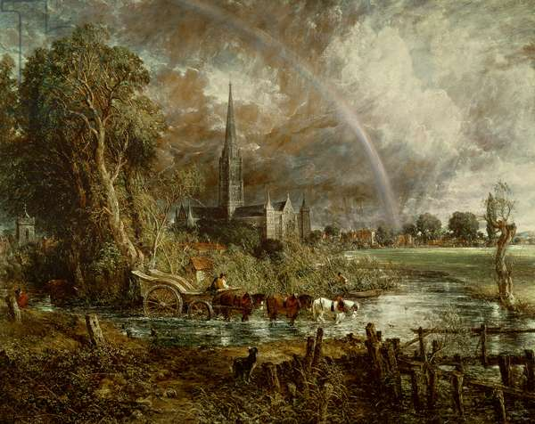 Salisbury Cathedral From the Meadows, 1831 (oil on canvas) (see 188984-188985 for details)