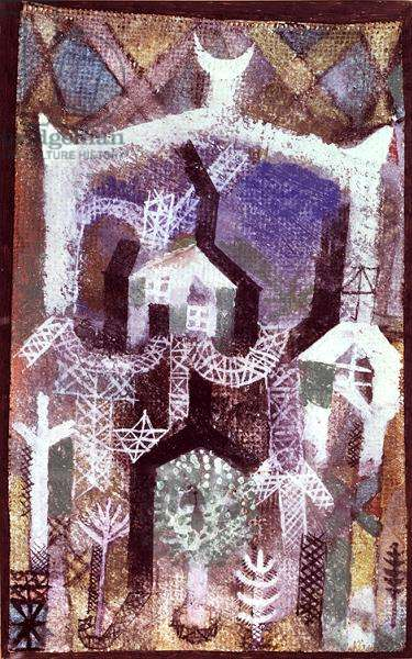 Summer-houses, 1919 (no 8) (w/c on primed linen on paper on cardboard)