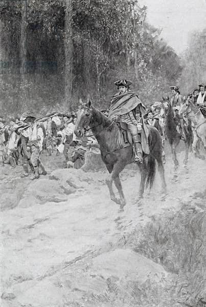 Washington's Retreat from Great Meadows, illustration from 'Colonel Washington' by Woodrow Wilson, pub. in Harper's Magazine, 1896 (litho)