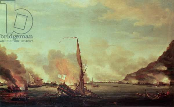 Destruction of the floating batteries at Gibraltar, 13th September 1782, 1782 (oil on canvas)