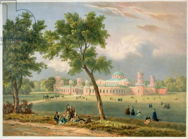 The Peter the Great Palace in Moscow, printed by Edouard Jean-Marie Hostein (1804-89), published by Lemercier, Paris, 1840s (colour litho)