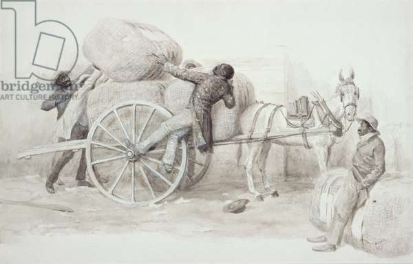 Negroes loading Cotton Bales at Charleston (pen & wash on paper)