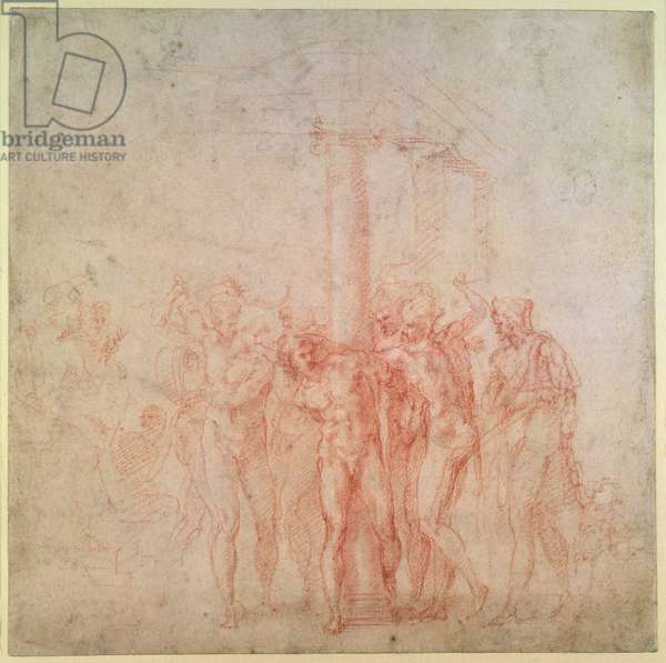 Inv. 1895 6-15-500. R. (W.15) The Flagellation of Christ (red chalk on paper)