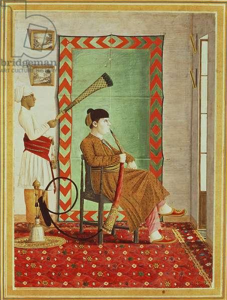 A portrait of a European gentleman in Indian dress seated before an open window smoking a hookah, Lucknow, Company School (gouache on paper)