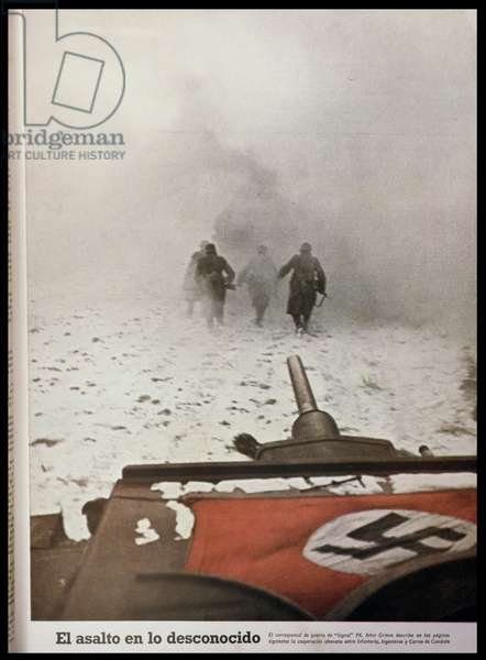 'The Attack into the Unknown', German troops advancing on Stalingrad, from 'Signal', first edition of January 1942 (photo)