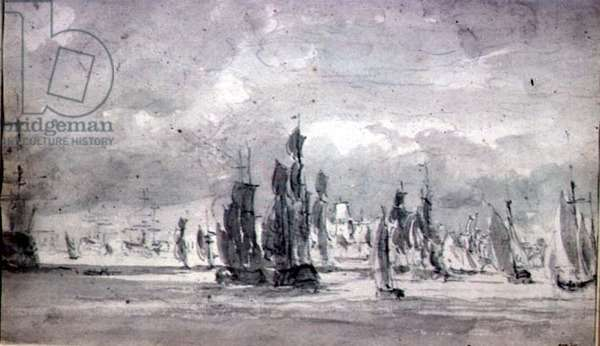 Shipping under a Cloudy Sky in the Thames (graphite on paper)