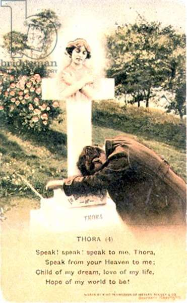'Speak to me, Thora.', postcard published by Bamforth & Co., early 20th century (coloured photo)