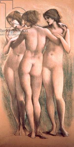 The Three Graces, c.1885, (pastel)