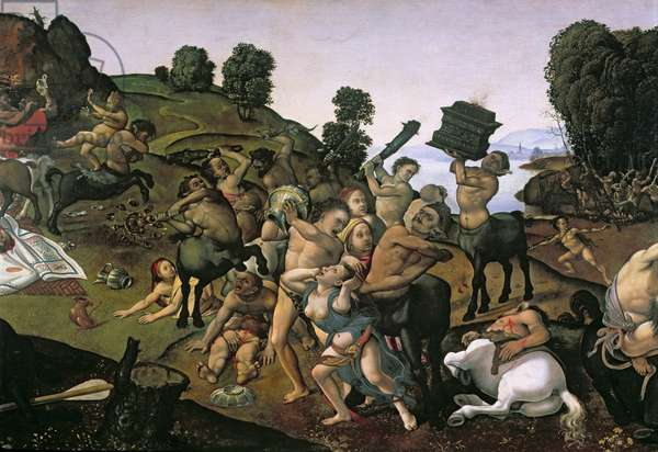 The Fight Between the Lapiths and the Centaurs, (detail of Centaurs attacking the Lapiths) c.1490's, (oil on wood)
