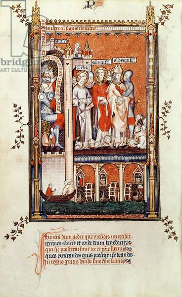 Fr 2092 f.37v Sisinnius showing the bodies of other Martyrs to St. Denis and his companions, from 'Vie de St. Denis', 1317 (vellum)