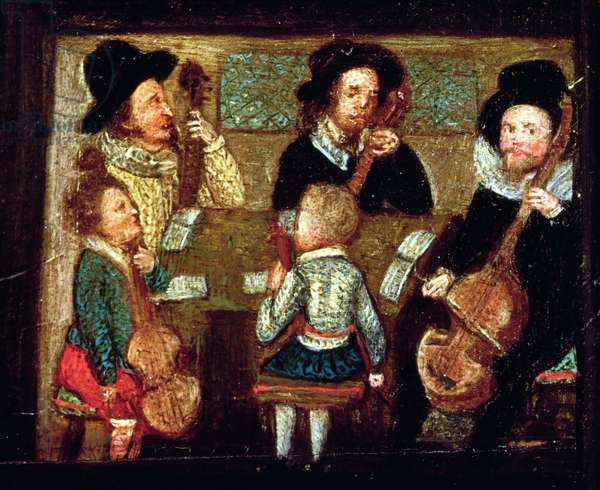 Musicians at Wadley House, detail from The Life and Death of Sir Henry Unton (1557-96), c.1596 (oil on panel) (see also 99909)