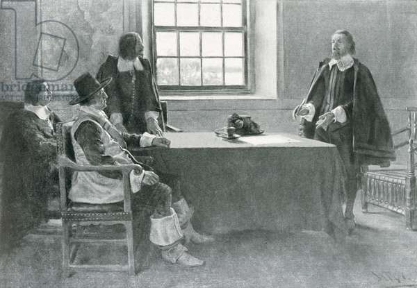Sir William Berkeley Surrendering to the Commissioners of the Commonwealth, illustration from 'In Washington's Day' by Woodrow Wilson, pub. in Harper's Magazine, 1896 (litho)