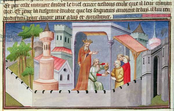 Ms Fr 2810 f.17, Hassan i Sabbah leading the initiations at Alamut giving his followers drugged wine, from the 'Livres des Merveilles du Monde', c.1410-12 (tempera on vellum)