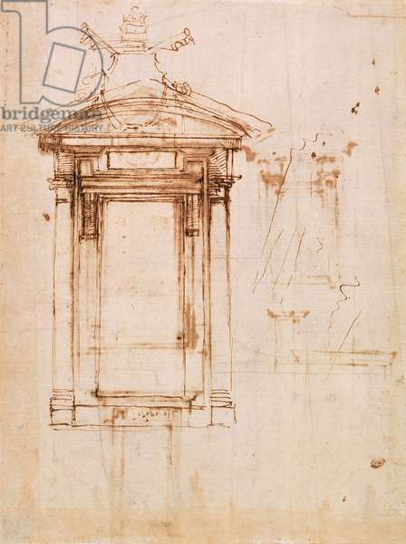 Architectural study (brown ink on paper with a brown wash) (recto)