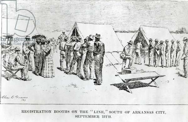 Registration Booths on the 'Line', South of Arkansas City, September 15th 1893 (engraving) (b/w photo)