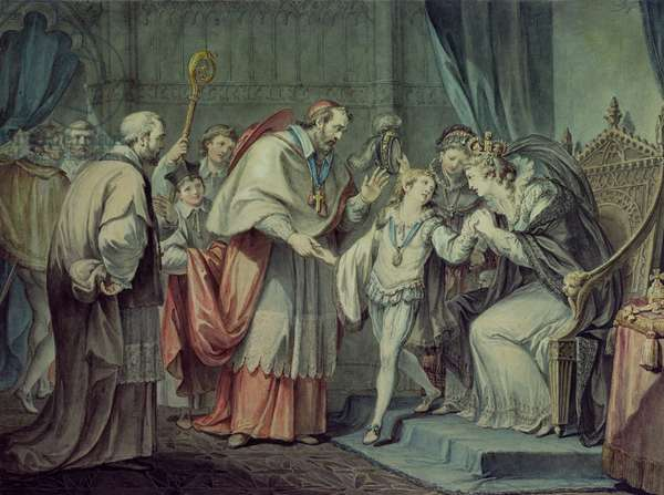 Richard, Duke of York, taking leave of his Mother, Elizabeth Woodville, in the Sanctuary, Westminster