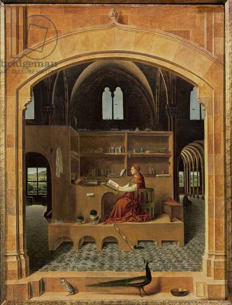 St. Jerome in his study, c.1475 (oil on panel) (see 259352 for detail)