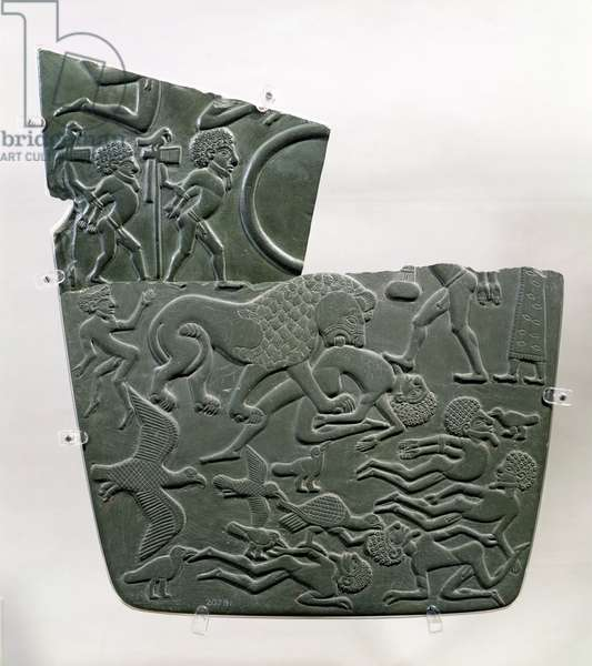 The Battlefield Palette, depicting captives and slain victims of battle, the latter preyed upon by wild animals, Late Predynastic to 1st Dynasty, c.3100 BC (grey schist)