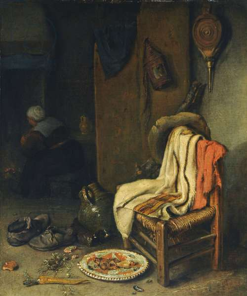 Domestic interior with still life (oil on panel)