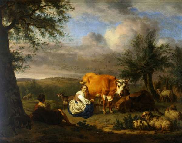Landscape, woman milking a cow, c.1669 (oil on canvas)