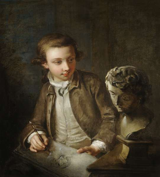 A boy drawing from the antique (oil on canvas)