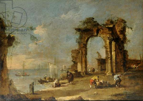 Coast scene with ruined landscape (oil on panel)