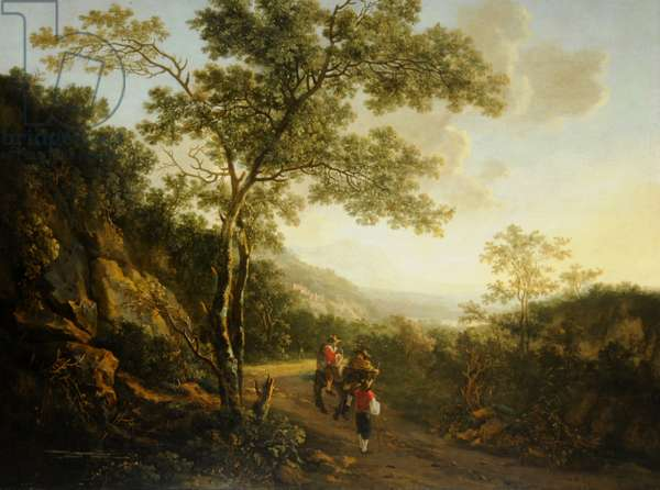 Landscape with figures, evening (oil on canvas)