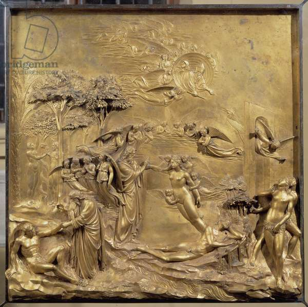 History of Adam's life: the birth of Adam, the creation of Eve and Adam and Eve hunts from Paradise. Original panel of the door of Paradise (East door of the Baptistere), after restoration