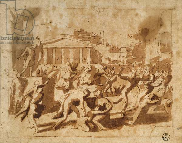 The Rape of the Sabine Women (pen & ink wash on paper)