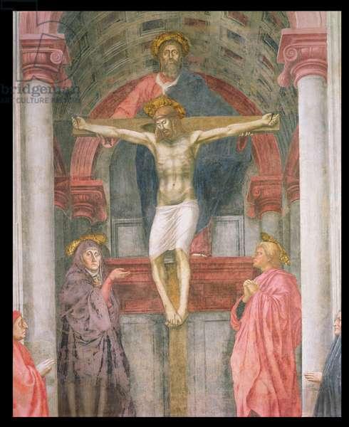 The Trinity, 1427-28 (fresco) (post restoration) (detail)