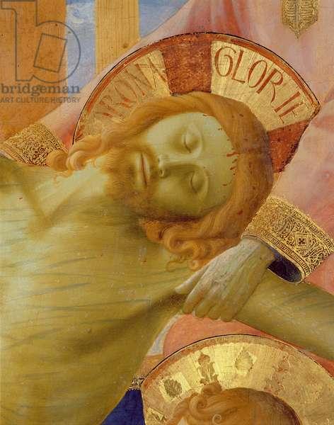 Santa Trinita Altarpiece, detail of the head of the dead Christ, c.1434 (tempera & gold on panel)