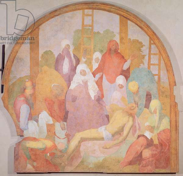 Deposition, lunette from the fresco cycle of the Passion, 1523-6 (fresco)