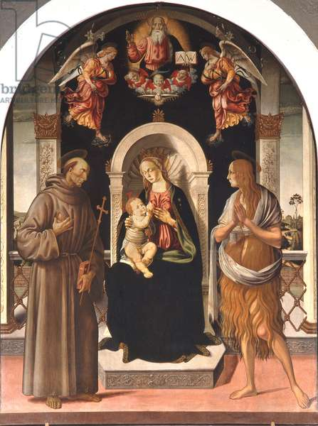 Madonna and Child with Saints (oil on panel)