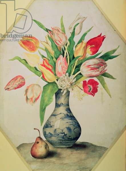 Blue China Vase of Tulips (tempera on vellum)
