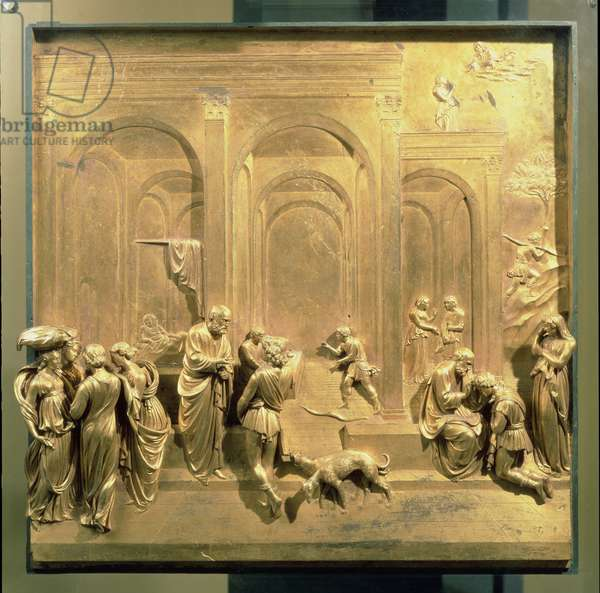 The Story of Jacob and Esau, original panel from the East Doors of the Baptistery, 1425-52 (gilt bronze) (post restoration)