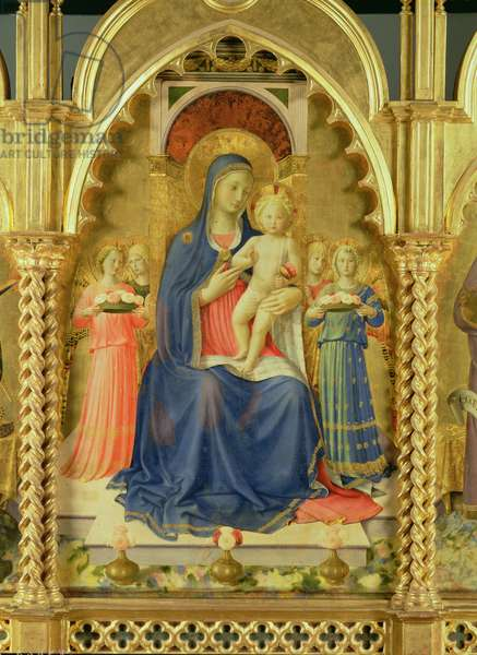 The Perugia Altarpiece, central panel depicting the Madonna and Child enthroned with four angels, 1437 (tempera on panel) (detail from 94733) (see also 69197)