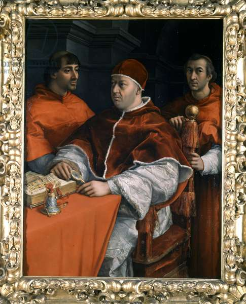 Portrait of the Pope Leon X (1475-1521) son of Laurent the Magnificent surrounded by the cardinals Luigi de Rossi and Giulio de Medici.