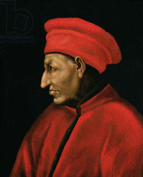 Portrait of Cosimo de'Medici (II Vecchio) (1389-1463) copied from Jacopo Pontormo (1494-1557) painting of 1518
