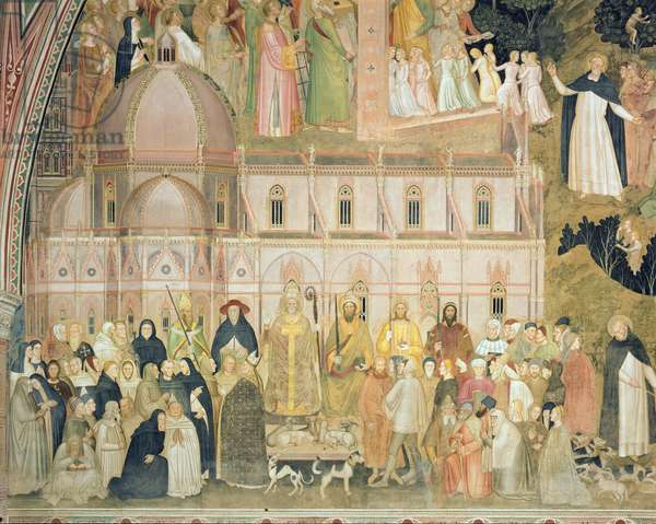 The Church Militant and Triumphant, detail of the secular authorities with Santa Maria del Fiore in the background, from the Spanish Chapel, c.1369 (fresco) (detail of 31612)