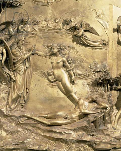 The Story of Adam, detail of the Creation of Eve, from one of the original panels from the East Doors of the Baptistery, 1425-52 (gilt bronze) (post restoration)
