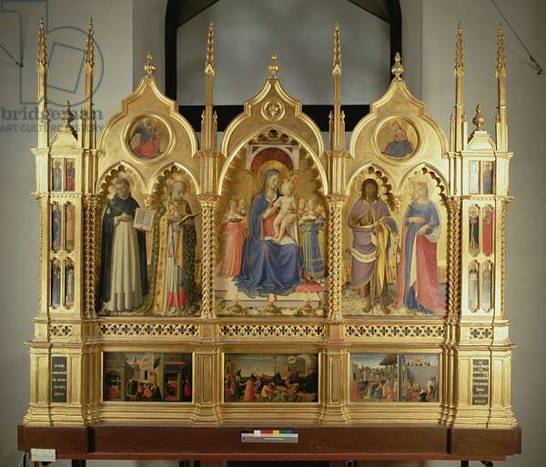 Virgin and Child Enthroned with Angels and Saints: altarpiece from the Chapel of San Niccolo dei Guidalotti in the Church of San Domenico in Perugia, 1437 (panel)