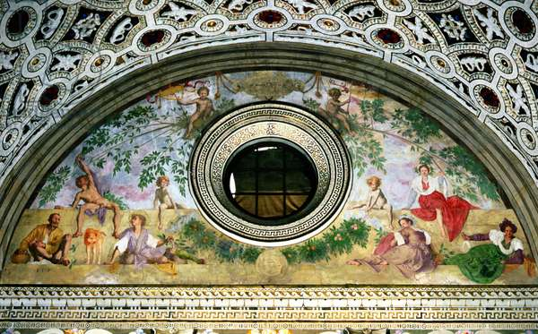 Lunette from the interior of the villa depicting, Vertumnus and Pomona (fresco)
