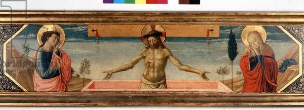 Predelle avec le Christ en pieté et saints. Peinture de Gozzoli Benozzo (1420 - 1497) (detail)