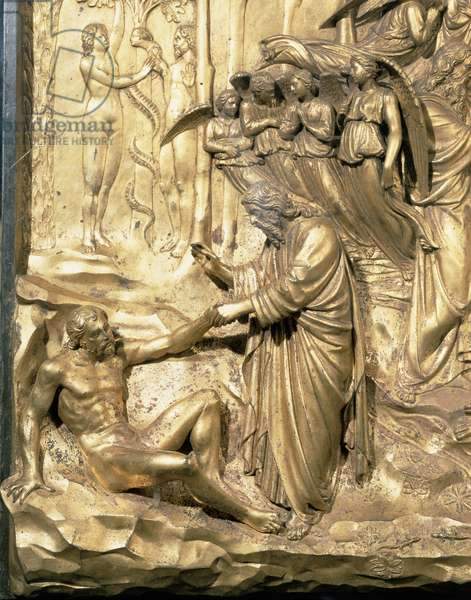 The Story of Adam, detail of the Creation of Adam and the Temptation of Adam and Eve, from one of the original panels from the East Doors of the Baptistery, 1425-52 (gilt bronze) (post restoration)