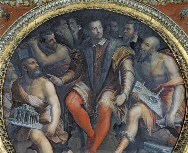 Cosimo I and His Artists, from the Sala di Cosimo I (fresco) (see also 274610)