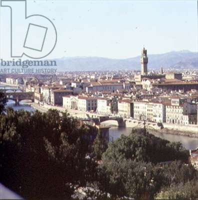 View of the city with the river Arno and Palazzo Vecchio (photo)